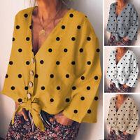 Mode Femme Chemise Haut Polka Dot Col V Profond Manche Longue Noué Tops Plus
