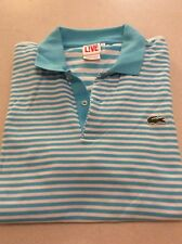 Mens Lacoste L!VE Polo Shirt Sky Blue White Striped CROC Logo Sz 4 S