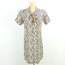 MARNI AT H&M Kleid Dress Oberteil Bluse Tunika Braun Offwhite Gr. 34 XS