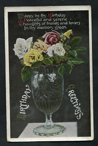 Posted 1908: Birthday Card: Roses in a Vase: In Thy Memory Green