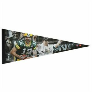 PACKERS Aaron Rodgers Super Bowl XLV MVP premium pennant SB 45 Green Bay