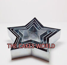 "4 TIER PROFESSIONAL STAR BIRTHDAY ANNIVERSARY WEDDING CAKE TINS 6"" 8"" 10"" 12"""