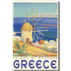 Mykonos fridge magnet Greece Vintage Travel Poster Aegean Sea Chora windmills