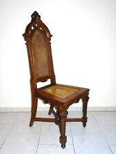 Antiker Stuhl um 1800 massiv Korbgeflecht Barock selten Chair hohe Lehne 126cm