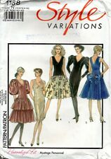 80s Style Sewing Pattern 1188 Misses Set of Lined Evening Dresses Size 10-14