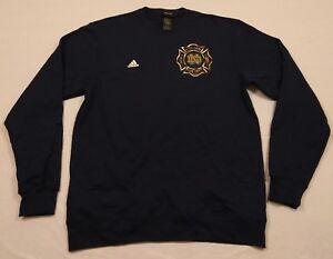 RARE ADIDAS Notre Dame Irish Blue Firefighter Dept Sweatshirt Jacket MEN'S L