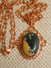 Natural Ocean Jasper & Copper Pendant &Solid Copper Chain with Gold-filled clasp