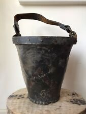 More details for age worn antique 19th century handpainted leather fire bucket