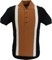 Ska & Soul Mens Black Stripe Front Knitted Polo Shirt