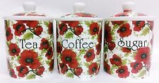Red Poppy Tea Coffee Sugar Canisters Bone China Poppies Storage Jars Decorate UK