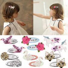 1 Pair Baby Unicorn Hairpin Floral Headwear Glittering Swan Hair Clip