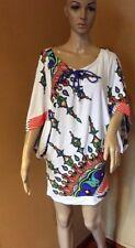 Trina Turk White Multi  Print Dolman Sleeve Cover Up Size S