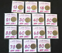 BIRTHDAY LUCKY SIXPENCE COIN 18TH 21ST 30TH 40TH 50TH 60TH  PINK KEEPSAKE GIFT