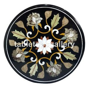 "24"" Marble Top Beautiful Coffee Table Mosaic Floral Inlay Art Bedroom Decor B141"