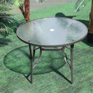 Tempered Outdoor Garden Glass Top Dining Table Bistro Leisure with Parasol Hole
