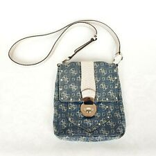 Guess Denim Crossbody Messenger Bag Small with Studs Beige Faux Snakeskin Strap