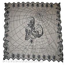 HALLOWEEN SPOOKY TABLECLOTH CROCHET SPIDERS WEB SKULLS BLACK PARTY DECORATION UK