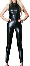 Sexy Black Faux Latex Look Catsuit / Jumpsuit Crotch Zip High Neck Sleeveless