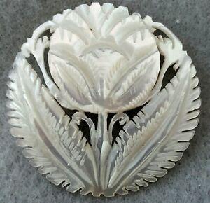 """Vintage Bethlehem Pearl Button, Large Hand-Carved Flower, 1 5/8"""""""