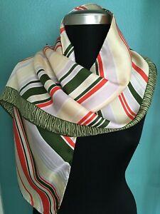 Vintage Bill Blass Green Orange Silk Scarf Striped 13 x 58 Oblong Japan