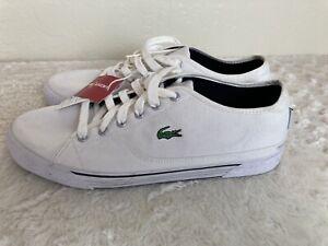 New Lacoste Sport Men's Auvergneet White Canvas Sneakers Shoes sz 10.5 US 44 EU