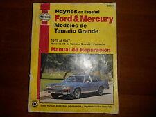 Repair Manual Ford Mercury In Spanish 1975-1987 Motores  De Tmano Y Pequeno