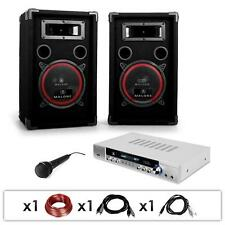 "1000W PA SYSTEM 8"" LOUD SPEAKERS AMPLIFIER MICS BEGINNER HOME DJ KARAOKE SET"