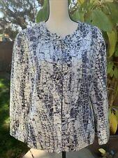 Chicos Travelers Womens Jacket Chico's Size 2 White W/purple & Grey Print NWOT