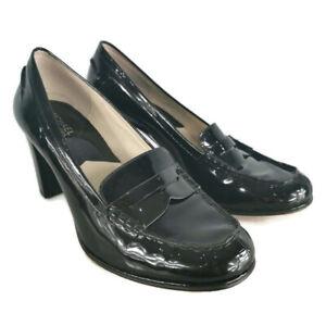 Michael Kors UK 6.5M Black Patent Leather Block Heel Brogues Womens