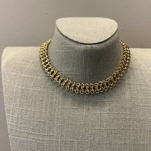 Simple gold tone chain mail chain choker necklace