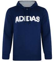 Mens New Adidas Hooded Sweatshirt Hoodie Hoody Jumper Pullover Top Sweater Blue
