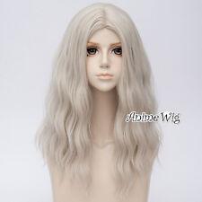 Long Curly 50CM Creamy White Hair Harajuku Lolita Women Ombre Cosplay Wig + Cap