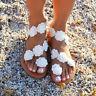Damen Blumen Flache Sandalen Boho Sandaletten Strand Sommerschuhe Freizeitschuhe