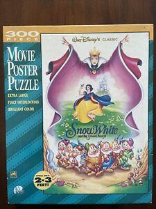 VTG Walt Disney Snow White Seven Dwarfs Golden 300 Pc Movie Poster Puzzle