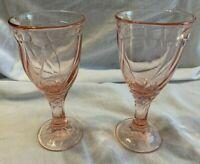 """Pair of Noritake Sweet Swirl 6 3/4"""" Peach Stemmed Water/Tea Goblet EUC"""