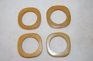 Set of 4 Chunky  Butterscotch  Bakelite Napkin Rings