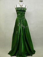 Cherlone Green Sparkly Long Satin Ball Prom Wedding/Evening Gown Dress UK 14-16