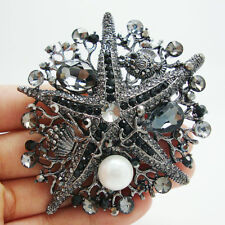Pin Pendant Black Rhinestone Crystal Vintage Unique Starfish Pearl Brooch