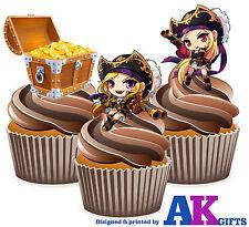 Chica Pirata & tesoros Fiesta de Cumpleaños 12 Taza Cake Toppers Adornos Comestibles