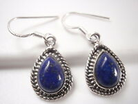 Lapis Teardrop 925 Sterling Silver Dangle Earrings with Rope Style Accents