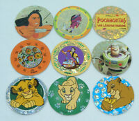 Lot de 9 POGS DISNEY POCAHONTAS, ROI LION, TOYS Story Avimage Caps/Tazo/Paddles