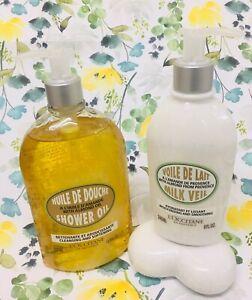 🍃💕L'Occitane Almond Shower Oil Supersize 500ml with pump & Milk Veil 240ml💕🍃