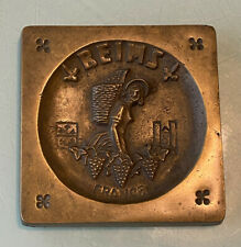 Vintage Signed Sg Heavy Bronze Depose Plaque Reims France Girl with Grapes 4�x4�