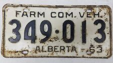 1963 ALBERTA Canada Farm Commercial Vehicle License Plate 349-013