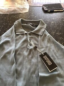 oxford mens long sleeve collar spring summer button jumper tag large