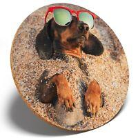1 x Dachshund Dog on the Beach - Round Coaster Kitchen Student Kids Gift #3225