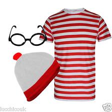 Hombre Adulto Rojo Y Blanco De rayas camiseta Gafas Gorra Disfraz Carnaval LOT