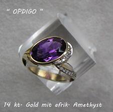 585er GG Gelbgold Ring (54) mit Amethyst und Diamanten     *OPDIGO*