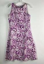 Hillard & Hanson Dress Size 8 Floral Print Sleeveless Scoop Neck Back Zip Purple