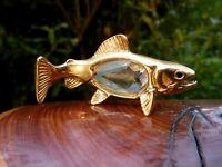 wunderschöne Kristall Glas Miniatur Figur Fisch 5 cm Metall goldfarbend